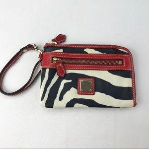 Dooney & Bourke Zebra Print Leather Wristlet